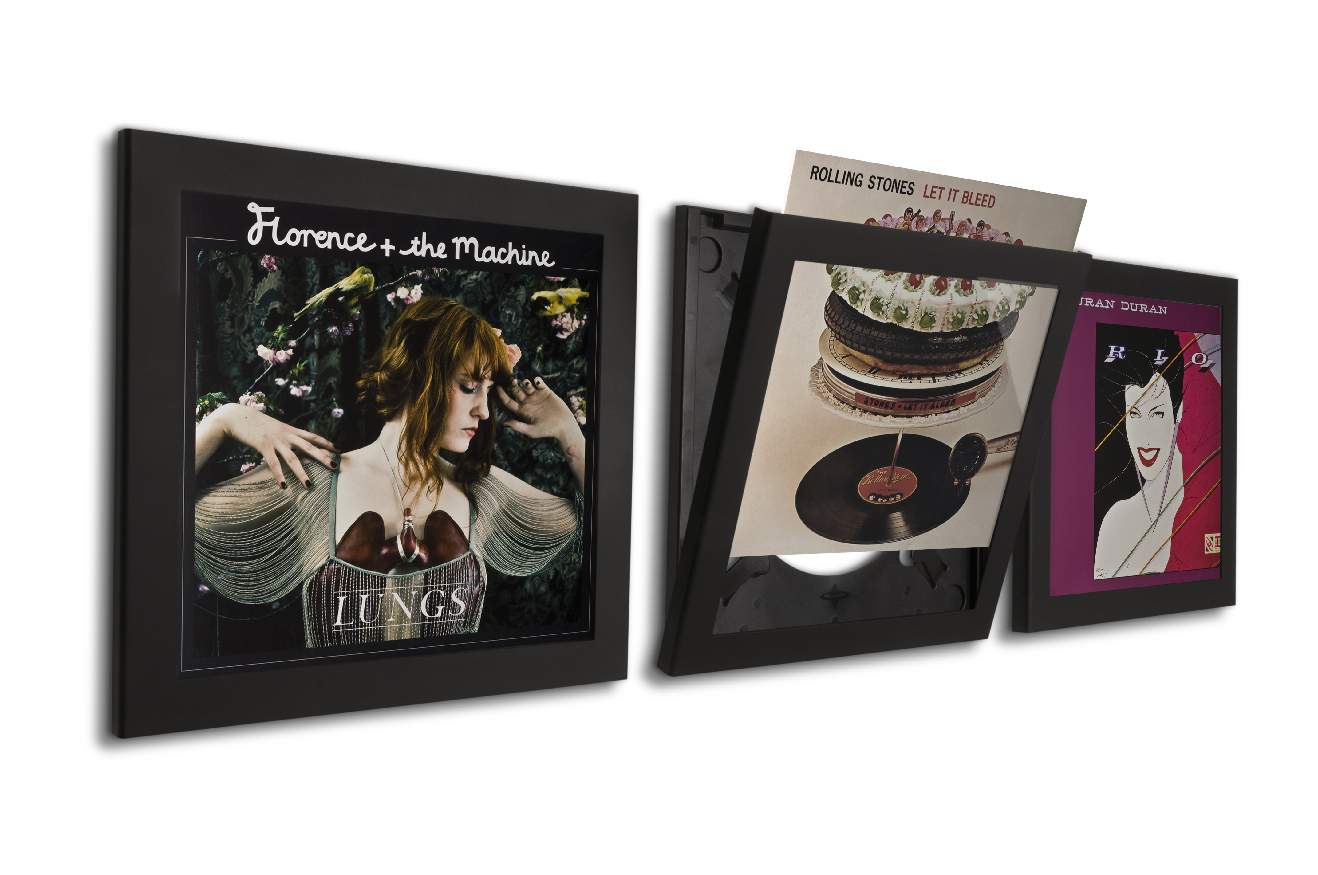 Black art vinyl play display record frame triple pack for Vinyl records decorations for wall