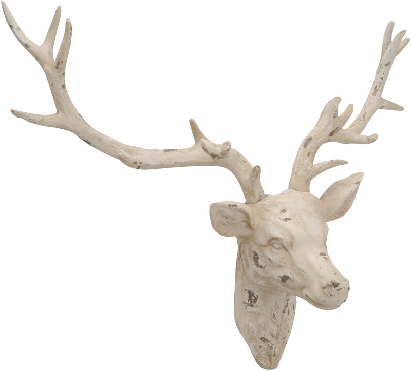 Distressed White Stag Head Sculpture