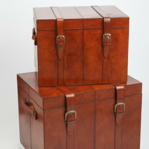 life of riley leather trunks set of 2