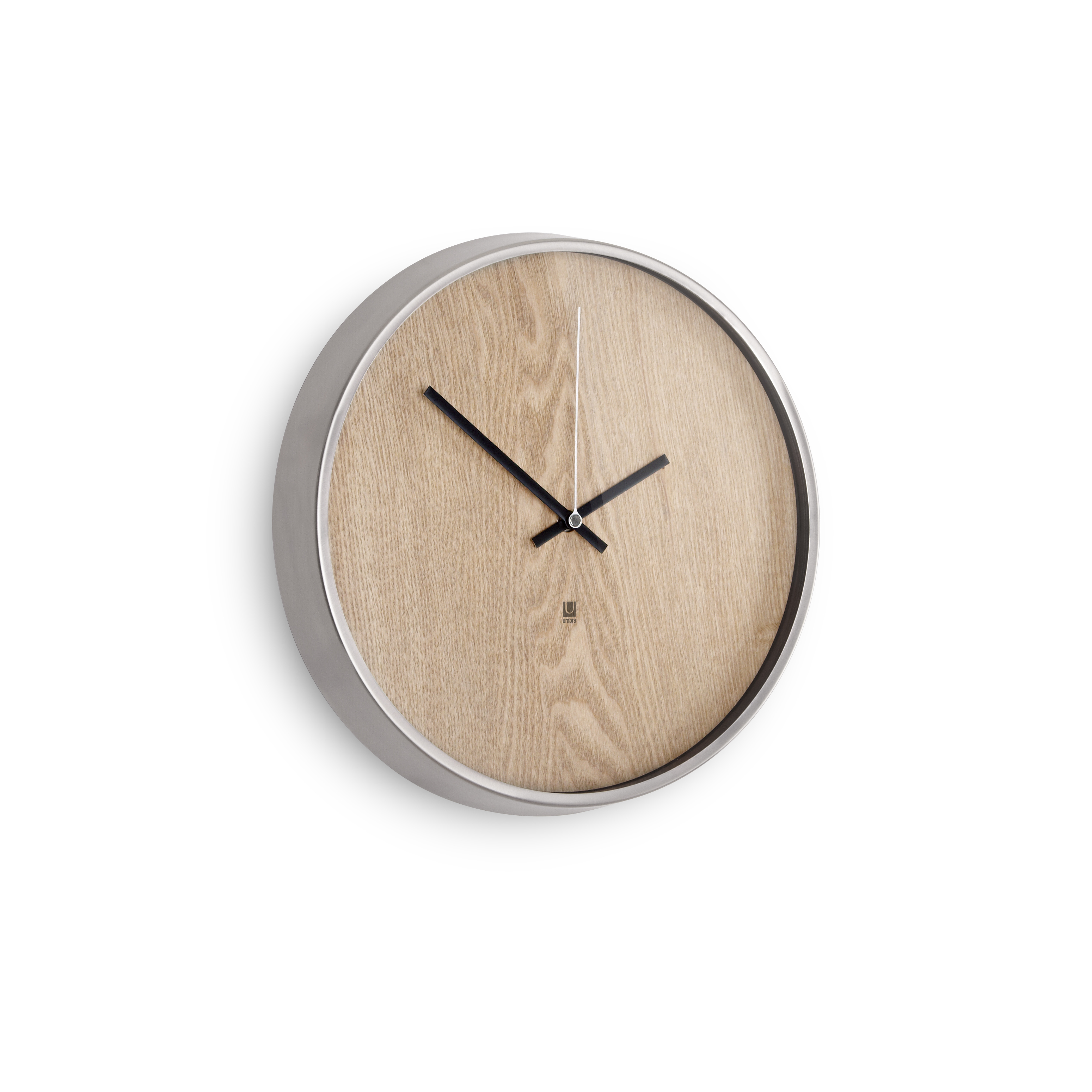 design essentials madera wall clock in natural with nickel rim