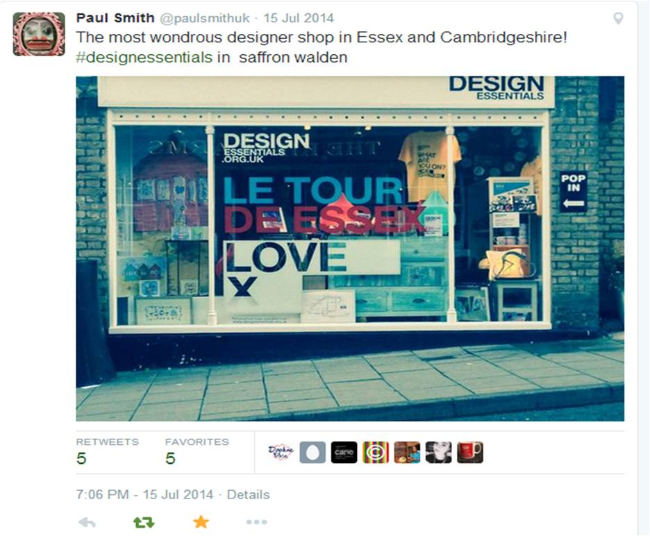 Paul SMith from CamCreative tweet about Design Essentials in Saffron walden summer 2014