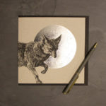 Striking fox greetings card featuring silver foil moon, designed by Jen Rowland.