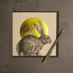 Hand-printed rabbit and sun greetings card by Jen Rowland.