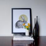 Stunning rabbit print by Jen Rowland at Design Essentials.