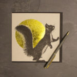 Detailed squirrel gold foil greeting card by Jen Rowland.