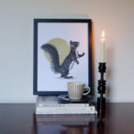 Striking squirrel print by Jen Rowland.