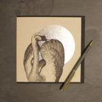 Elegant silver foil-based swan greeting card by Jen Rowland.