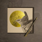 Gorgeous foil-based greeting card by Jen Rowland featuring a cute wren design.