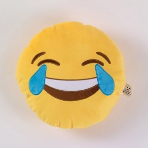 Funny emoji cushion with crying laughing face mad movie