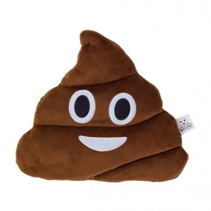 Cheeky emoji cushion with poo face