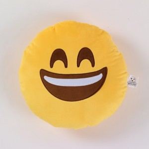 Happy emoji cushion with smiley face mad