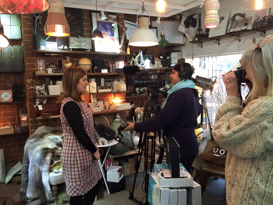 Wendy Howell, owner of Design Essentials, being interview for Small Business Saturday by ITV in Saffron Walden