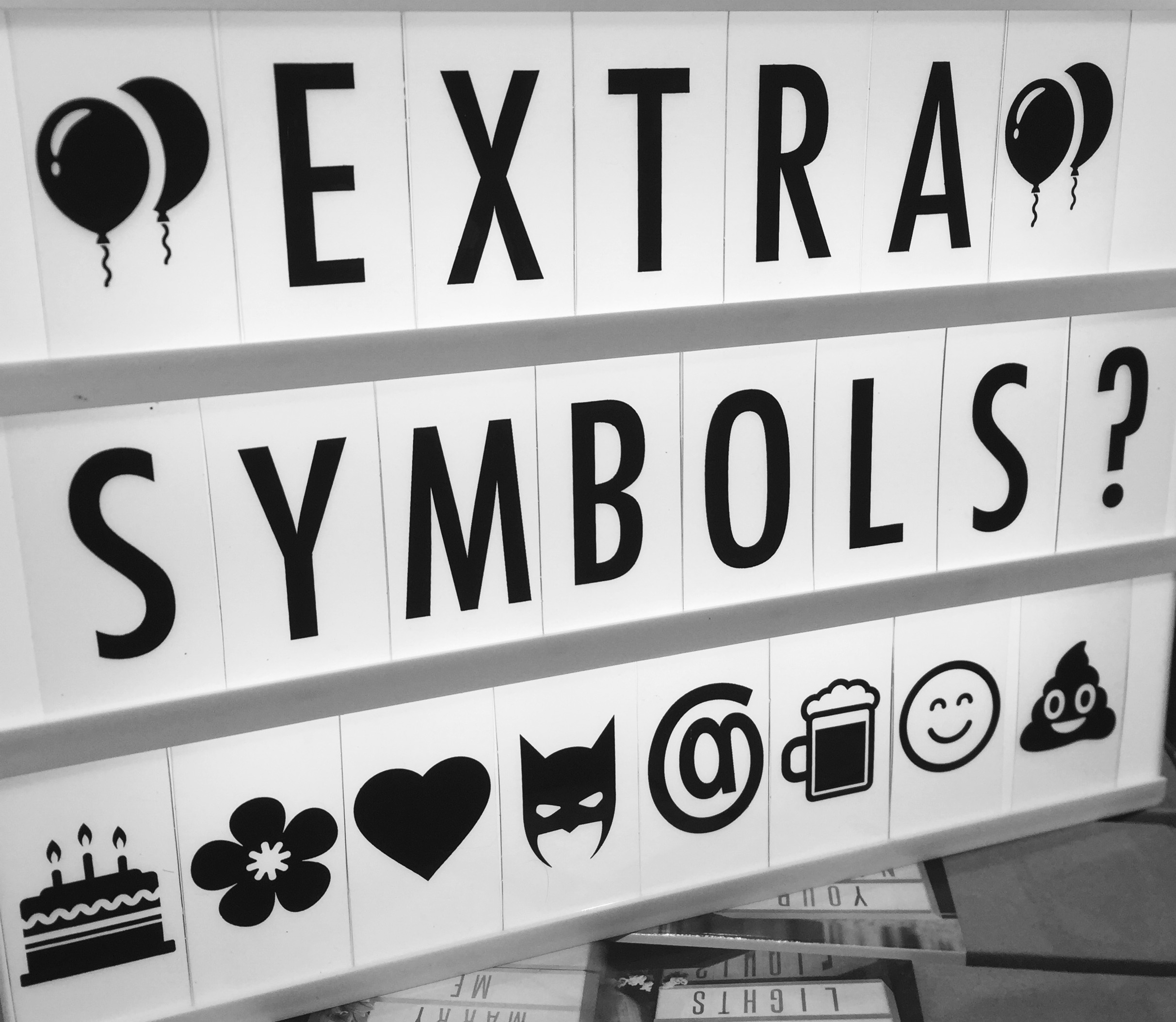 extra symbols pack compatible with your black and white cinematic lightbox from design essentials saffron