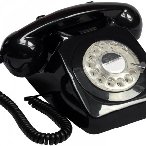 Black retro style phone from GPO retro available at Design Essentials