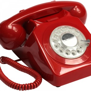 Red Retro Rotary-style phone available at Design Essentials, Saffron Walden