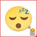 Emoji cushion with sleepy expression from Design Essentials Saffron Walden