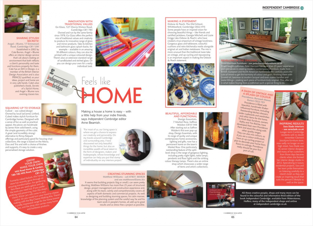 Design Essentials feature in a double-page spread in Cambridge Magazine