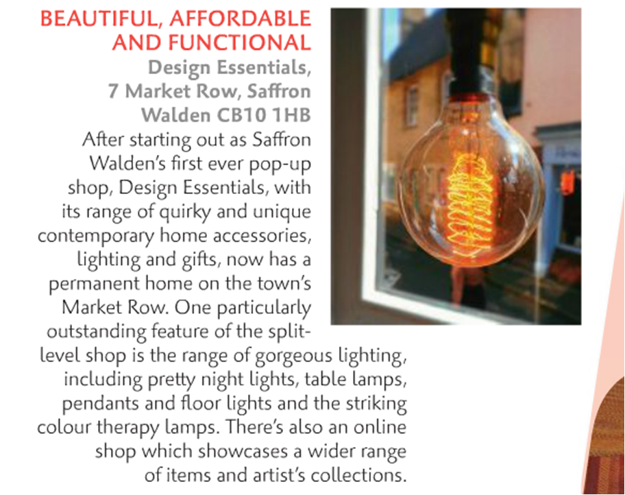 Design Essentials, Saffron Walden, as featured in the April 2016 edition of Cambridge Magazine