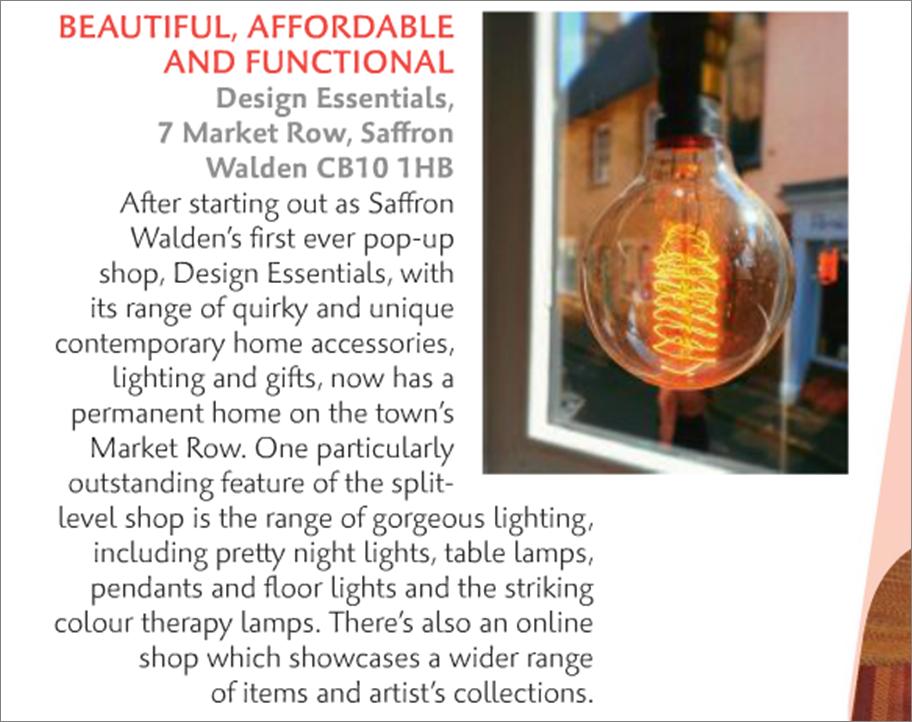 Design Essentials, Saffron Walden, as featured in the April 2016 edition of Cambridge Magazine