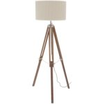 Rowley natural wood and nickel frame tripod standard floor lamp from Design Essentials, Saffron Walden
