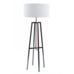 Satin grey and copper frame floor lamp from Design Essentials, Saffron Walden