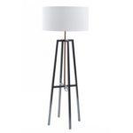 Satin grey and copper frame floor lamp from Design Essentials, Saffron Walden