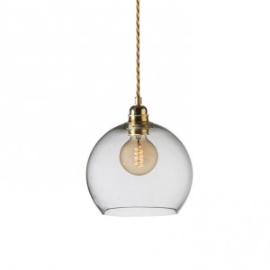 Small Clear with Brass Rowan Pendant Light