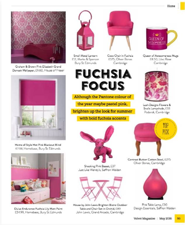 Design Essentials, Saffron Walden, in the Fuchsia Focus feature of Velvet Magazine
