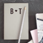 Perfect wedding present - handmade initials notebook for two.