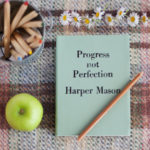 Vintage personalised leather notebook - Progress not Perfection is perfect for yourself as a place to document the things you're working on....