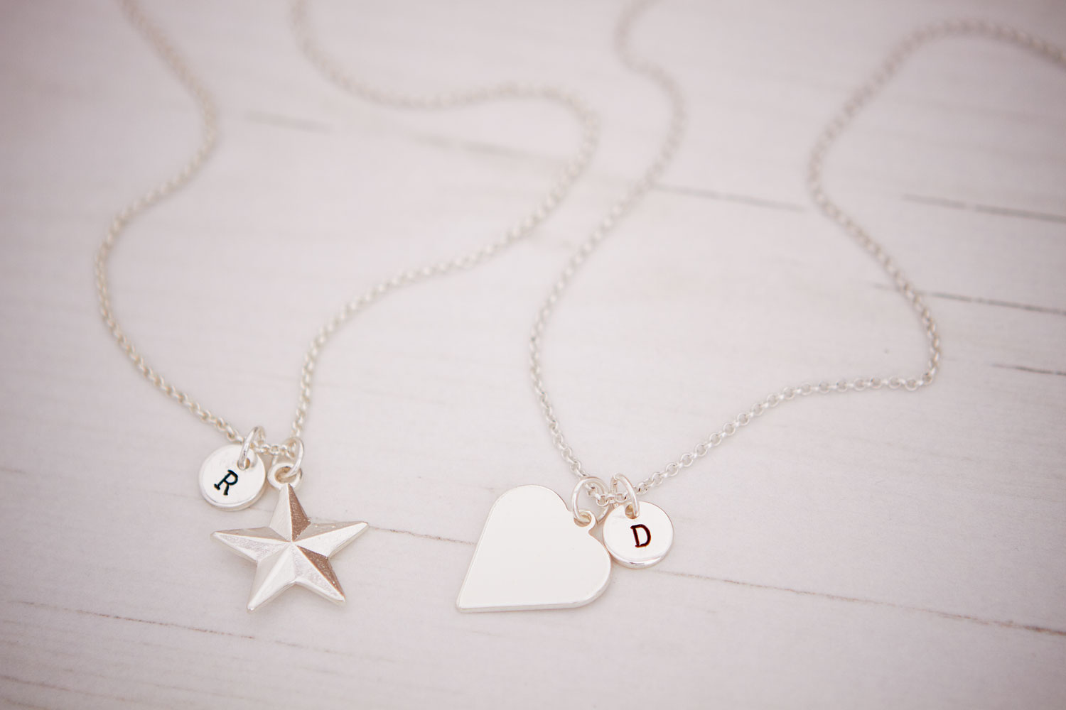 Personalised Ellie Necklaces with initial charms from Design Essentials