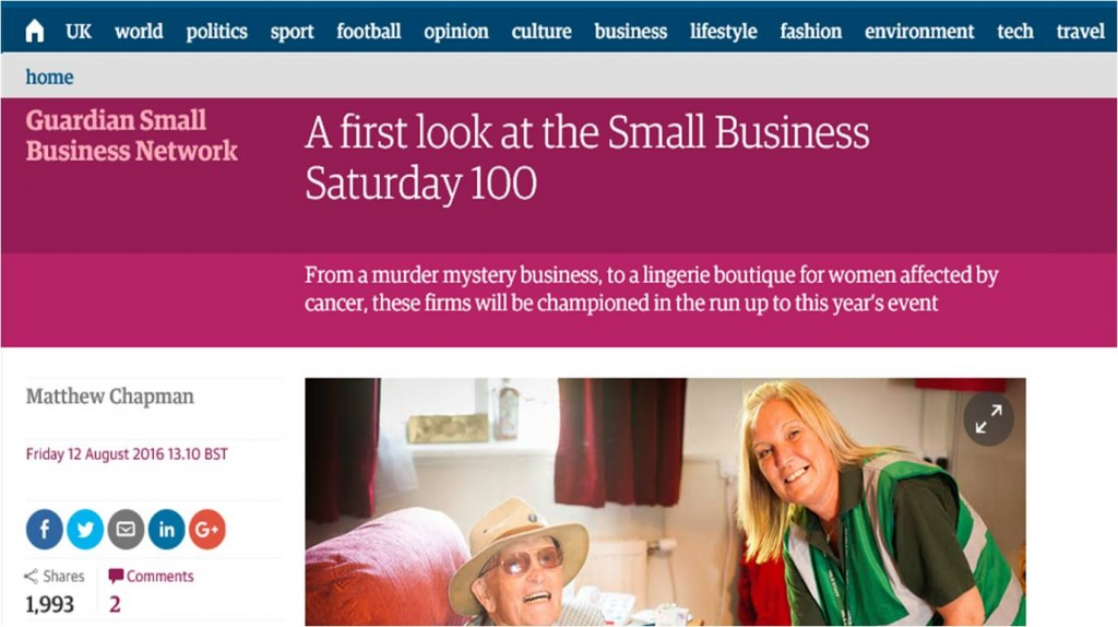 Design Essentials featured in The Guardian as part of their Small Business Saturday 100 article