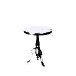 Design Essentials side table silver nickel classic leg brushed metal circular