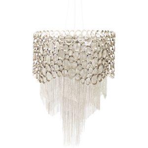 Design Essentials pendant lamp chandelier nickel circular chains