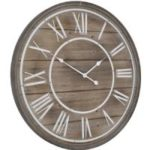 design essentials circular rustic wooden white wall clock roman numerals large washed homeware
