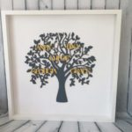 personalised family tree yellow names grey design essentials saffron walden personalisations gifts wedding mothers day bespoke handmade framed wood