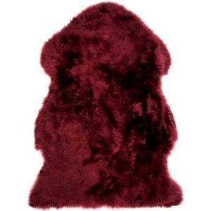 Design Essentials Sheep Skin Rug Red