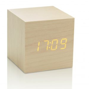 Design Essentials Gingko Message Clock Cube Wood Touch Screen Technology