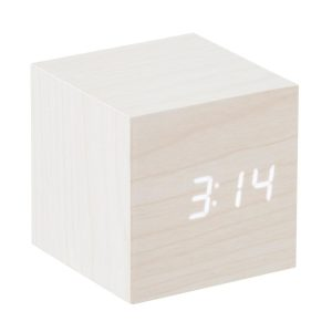 Design Essentials Gingko Message Clock Cube Ash Wood Touch Screen Technology