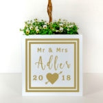 Personalised planter to make a beautiful souvenir of a wedding day.