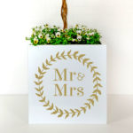 Personalised plant container for weddings with Mr and Mrs in gold.