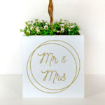 Personalised plant container for weddings with Mr and Mrs in gold letters.