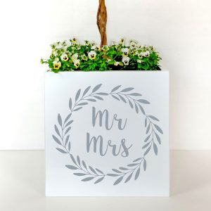 Plant container to style a wedding venue.