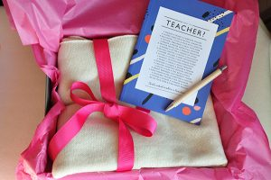 artisan lane, gift box, Comfy Teacher collection, beautiful pashmina, teacher notebook by Bespoke Verse, perfect teacher gift,