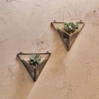 Karana Triangle Wall Planter Antique Brass Antique Black Nkuku Design Essentials