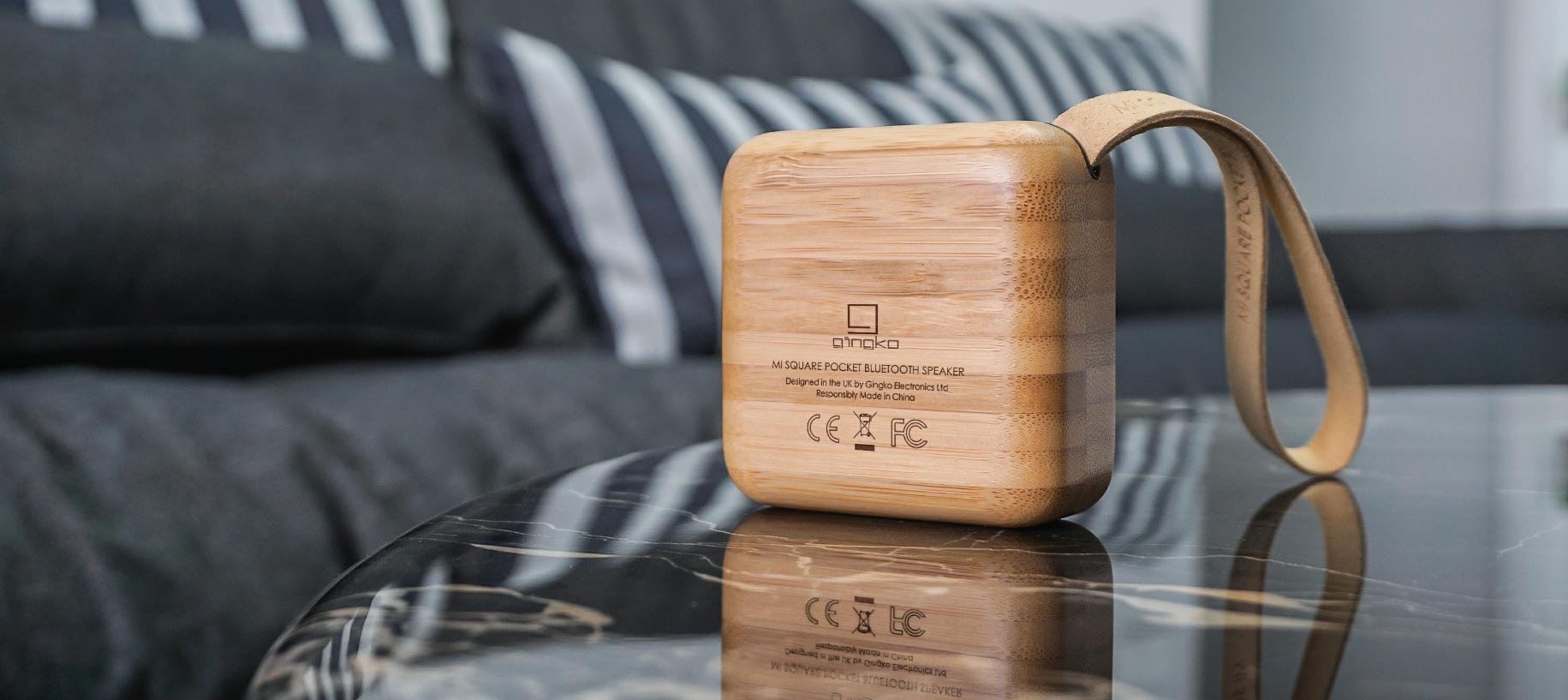 MI SQUARE Pocket Speaker Bamboo Design Essentials Gingko