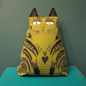 Mustard Cat Cushion Design_Essentials_Saffron_Walden