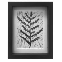 Original Unique Botanical Fern Lino Print Victoria_Gray Design Essentials