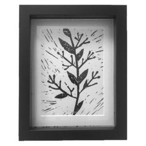 Original Unique Botanical Sprig 1 Lino Print Victoria Gray Design Essentials
