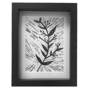 Original Unique Botanical Sprig 3 Lino Print Victoria Gray Design Essentials